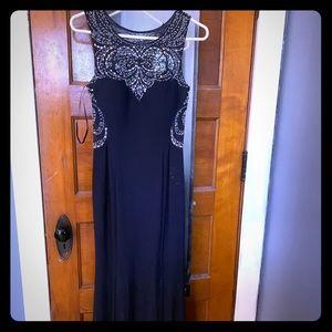 Navy blue long dress size 6 Betsy Adam